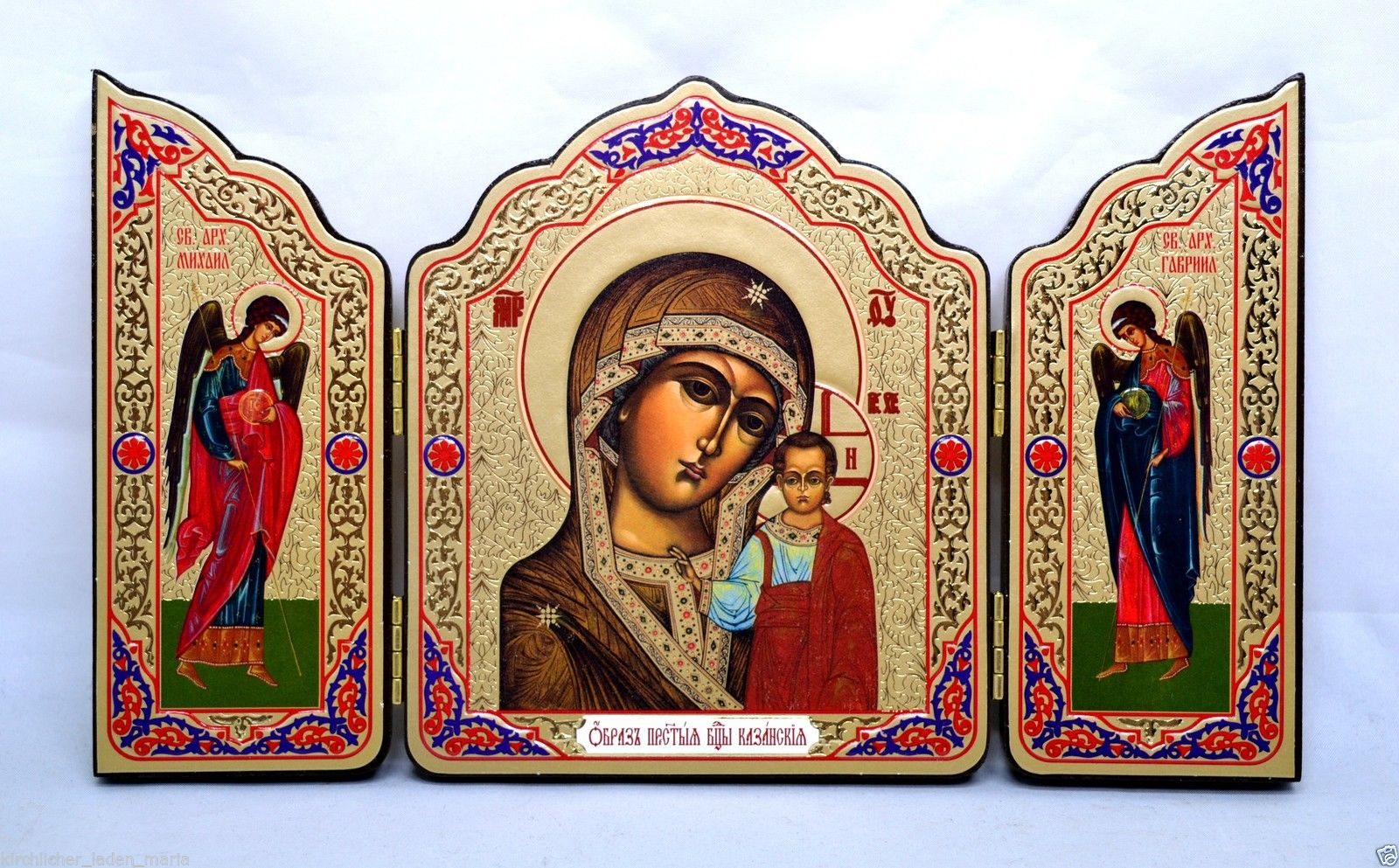 Wooden triptych icon Our Lady of Kazan