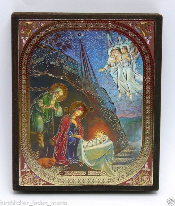 Icon birth Christ consecrated wood panel